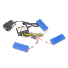 240040 Lipo Batteries 3PCS + 3 IN 1 Charger Spare Parts for Polaroid PL2400 RC Camera Drone