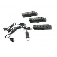 Batteries 3PCS + USB 3PCS for Propel Drone Flex 2.0